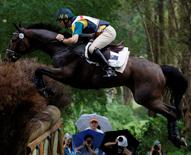 Australia's Shane Rose rides All Luck during the equestrian eventing cross country competition at the Beijing Olympic Games 2008 in Hong Kong August 11, 2008.   REUTERS/Bobby Yip  (CHINA)