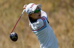 Jul 7, 2016; San Martin, CA, USA; Hyo Joo Kim tees off the sixth hole during the first round of the women's 2016 U.S. Open golf tournament at CordeValle Golf Club.  Kelvin Kuo-USA TODAY Sports