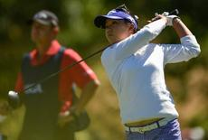 Jul 10, 2016; San Martin, CA, USA; Lydia Ko tees off the second hole during the final round of the women's 2016 U.S. Open golf tournament at CordeValle Golf Club. Kelvin Kuo-USA TODAY Sports