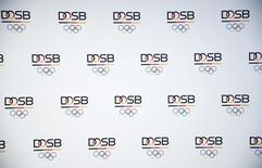 The logos of the German Olympic Sports Confederation (DOSB) are pictured at DOSB's headquarters in Frankfurt, Germany, May 20, 2016, ahead of a ceremony marking the confederations's 10th anniversary. REUTERS/Kai Pfaffenbach