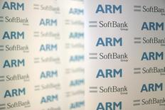 An ARM and SoftBank Group branded board is displayed at a news conference in London, Britain July 18, 2016. REUTERS/Neil Hall