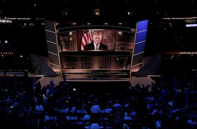 Republican U.S. presidential nominee Donald Trump speaks live via satellite from Trump Tower in New York City during the second session at the Republican National Convention in Cleveland, Ohio, U.S. July 19, 2016.  REUTERS/Mike Segar
