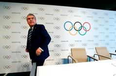 International Olympic Committee (IOC) President Thomas Bach leaves a news conference after the Olympic Summit on doping in Lausanne, Switzerland, June 21, 2016.  REUTERS/Denis Balibouse