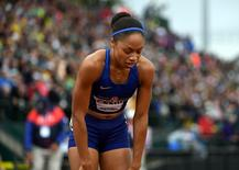 Jul 10, 2016; Eugene, OR, USA; Allyson Felix reacts after placing fourth in the women's 200m in 22.54 during the 2016 U.S. Olympic Team Trials at Hayward Field. Kirby Lee-USA TODAY Sports
