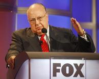 Roger Ailes, chairman and CEO of Fox News and Fox Television Stations, answers questions during a panel discussion at the Television Critics Association summer press tour in Pasadena, California July 24, 2006. REUTERS/Fred Prouser/File Photo