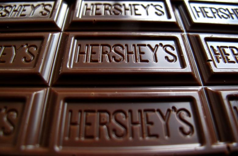 A Hershey's chocolate bar is shown in this photo illustration in Encinitas, California January 29, 2015.  REUTERS/Mike Blake
