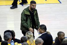 June 13, 2016; Oakland, CA, USA; Recording artists Drake in attendance as the Cleveland Cavaliers  play against the Golden State Warriors during the second half in game five of the NBA Finals at Oracle Arena. Cary Edmondson-USA TODAY Sports