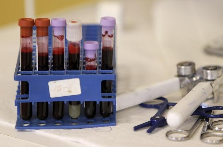 Testing tubes full of blood are seen at a donation center in Washington, February 16, 2016. REUTERS/Gary Cameron