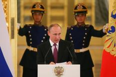Russian President Vladimir Putin speaks during a personal send-off for members of the Russian Olympic team at the Kremlin in Moscow, Russia, July 27, 2016. REUTERS/Maxim Shemetov
