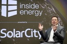 Elon Musk, Chairman of SolarCity and CEO of Tesla Motors, speaks at SolarCityÕs Inside Energy Summit in Manhattan, New York October 2, 2015.     REUTERS/Rashid Umar Abbasi/File Photo - RTSKHHA