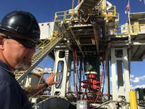 Rig supervisor David Crow shows off the oil rig he manages foreElevation Resources at the Permian Basin drilling site in Andrews County, Texas, U.S.  in this photo taken May 16, 2016. REUTERS/Ann Saphir