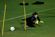 Hope Solo (USA) of the United States trains. REUTERS/Mariana Bazo