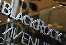 """The BlackRock logo is seen outside of its offices in New York January 18, 2012. B REUTERS/Shannon Stapleton/File Photo    GLOBAL BUSINESS WEEK AHEAD PACKAGE - SEARCH """"BUSINESS WEEK AHEAD JULY 11"""" FOR ALL IMAGES - RTSHAA8"""