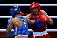 Russo Andrey Zamkovoy (vermelho) durante semifinal dos Jogos de Londres, em 2012.   10/08/2012  REUTERS/Damir Sagolj