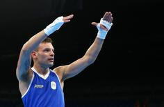 2016 Rio Olympics - Boxing - Preliminary - Men's Light (60kg) Round of 32 Bout 4 - Riocentro - Pavilion 6 - Rio de Janeiro, Brazil - 06/08/2016. Carmine Tommasone (ITA) of Italy reacts. REUTERS/Peter Cziborra