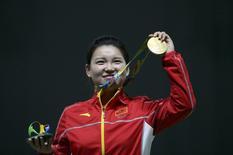 Campeã olímpica do tiro Zhang Mengxue. 07/08/2016 REUTERS/Edgard Garrido