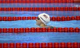 2016 Rio Olympics - Swimming - Preliminary - Women's 400m Freestyle - Heats - Olympic Aquatics Stadium - Rio de Janeiro, Brazil - 07/08/2016. Katie Ledecky (USA) of USA competes on her way to setting a new Olympic record.    REUTERS/Michael Dalder