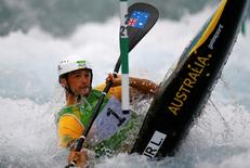 2016 Rio Olympics - Canoe Slalom - Preliminary - Men's Kayak (K1) Heats - Whitewater Stadium - Rio de Janeiro, Brazil - 07/08/2016. Lucien Delfour (AUS) of Australia competes in the 2nd run. REUTERS/Ivan Alvarado