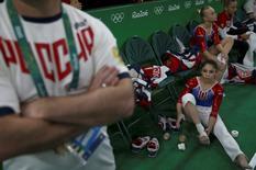 2016 Rio Olympics - Artistic Gymnastics - Preliminary - Women's Qualification - Subdivisions - Rio Olympic Arena - Rio de Janeiro, Brazil - 07/08/2016. The Russian gymnastics team is seen during the women's qualifications. REUTERS/Damir Sagolj