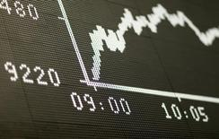 Табло, демонстрирующее динамику индекса DAX на бирже во Франкфурте-на-Майне. Динамика европейских акций замедлилась на ранних торгах вторника, поскольку рост бумаг компаний, подобных Altice, а также представителей финансового сектора оказался слабее движения сырьевых акций, которые снизились вслед за ценами на нефть и промышленные металлы. REUTERS/Ralph Orlowski