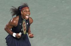 Serena Williams (USA) of USA reacts during her match against Alize Cornet (FRA) of France.  REUTERS/Toby Melville