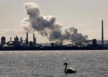 Steam billows from a stack at the U.S. Steel Canada plant, formerly Stelco, in Hamilton, March 4, 2009.  REUTERS/ Mike Cassese