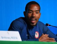 Aug 10, 2016; Rio de Janeiro, Brazil;  Christian Taylor during a USA track and field press conference for the Rio 2016 Summer Olympic Games at the Main Press Centre. Mandatory Credit: Christopher Hanewinckel-USA TODAY Sports