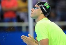 Thiago Pereira durante eliminatórias dos 200m medley.  10/08/2016.   REUTERS/Dominic Ebenbichler