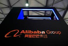 A sign of Alibaba Group is seen at CES (Consumer Electronics Show) Asia 2016 in Shanghai, China, May 12, 2016. REUTERS/Aly Song/File Photo   - RTX2G2TA