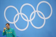 Australiano Kyle Chalmers após conquista do ouro nos 100 metros estilo livre.    10/08/2016       REUTERS/Marcos Brindicci