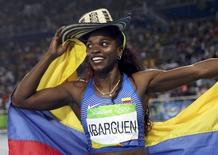 2016 Rio Olympics - Athletics - Final - Women's Triple Jump Final - Olympic Stadium - Rio de Janeiro, Brazil - 14/08/2016.   Caterine Ibarguen (COL) of Colombia celebrates after winning the gold medal in the event. REUTERS/Phil Noble