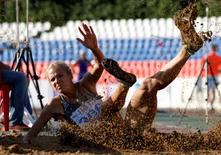 Athletics - Russian track and field championship - Women's long jump - Cheboksary, Russia, 21/6/16. Darya Klishina during an attempt. REUTERS/Sergei Karpukhin/Files