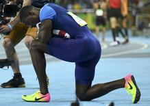 Norte-americano Justin Gatlin após corrida na Rio 2016.      14/08/2016    REUTERS/Dylan Martinez