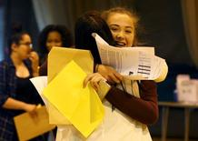 Students react as they receive their A- level results at the Harris City Academy in London, Britain August 18, 2016.  REUTERS/Peter Nicholls