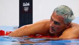 Ryan Lochte após prova individual de 200m, na Rio 2016  11/08/2016 REUTERS/David Gray