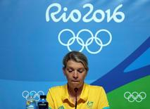 Kitty Chiller, Chef de Mission for Australia at the Rio 2016 Olympic Games, gives a press conference in which she spoke about the fines levied against a group of their athletes for entering the basketball arena without proper accreditation, in Rio de Janeiro August 20, 2016. REUTERS/Chris Helgren