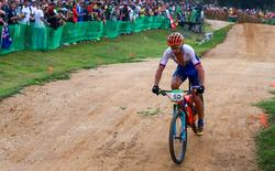 Aug 21, 2016; Rio de Janeiro, Brazil; Peter Sagan (SVK) in the men's cross country mountain bike competition during the Rio 2016 Summer Olympic Games at Mountain Bike Centre. Mandatory Credit: Guy Rhodes-USA TODAY Sports