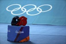 Capacetes de taekwondo em arena usada durante a Olimpíada Rio 2016 17/08/2016 REUTERS/Issei Kato