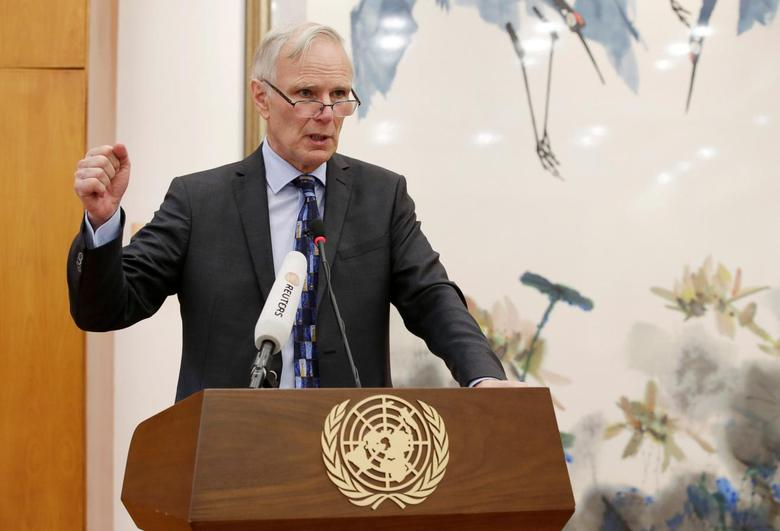 Philip Alston, the U.N.'s special rapporteur on extreme poverty and human rights, attends a news conference in Beijing, China, August 23, 2016. REUTERS/Jason Lee