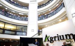 President and CEO Chuck Magro of Agrium addresses shareholders during the company's annual general meeting in Calgary, Alberta, May 6, 2015 REUTERS/Todd Korol