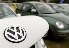 "The logo of a Volkswagen Beetle car is seen at the so called ""Sunshinetour 2016"" in Travemuende at the Baltic Sea, August 20, 2016.  REUTERS/Fabian Bimmer"
