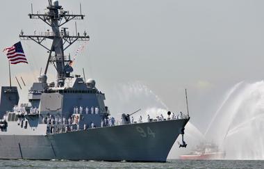 USS Nitze is greeted by spray of fireboat to kick off Fleet Week in New...