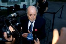 Former FIFA President Sepp Blatter arrives at the Court of Arbitration for Sport (CAS) to be heard in the arbitration procedure involving him and the FIFA in Lausanne, Switzerland, August 25, 2016. REUTERS/Pierre Albouy