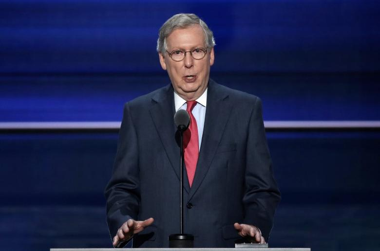 U.S. Senate Majority Leader Mitch McConnell speaks at the Republican National Convention in Cleveland, Ohio, U.S. July 19, 2016.  REUTERS/Mike Segar