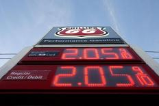A gas price sign is seen at a Phillips 66 station on Westheimer Road in Houston, Texas December 16, 2014. REUTERS/Daniel Kramer