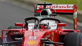 Britain Formula One - F1 - British Grand Prix 2016 - Silverstone, England - 8/7/16 The halo safety device on Ferrari's Sebastian Vettel's car during practice Action Images via Reuters / Andrew Boyers Livepic