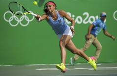 2016 Rio Olympics - Tennis - Preliminary - Women's Singles Second Round - Olympic Tennis Centre - Rio de Janeiro, Brazil - 08/08/2016. Caroline Garcia (FRA) of France in action against Johanna Konta (GBR) of United Kingdom. REUTERS/Toby Melville