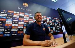 FC Barcelona's soccer coach Luis Enrique attends a news conference at Joan Gamper training camp, near Barcelona, Spain July 21, 2016. REUTERS/Albert Gea