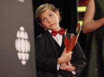 Jacob Tremblay recebe premiação em Toronto. 13/3/2016. REUTERS/Fred Thornhill