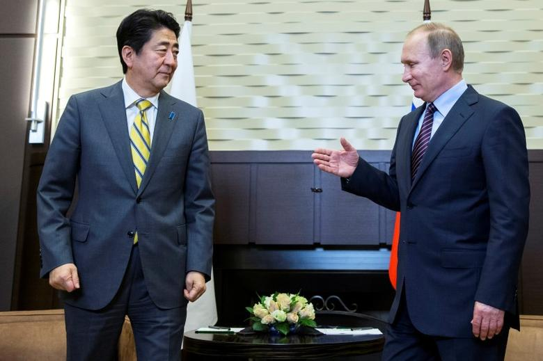 Russian President Vladimir Putin (R) meets with Japanese Prime Minister Shinzo Abe in Sochi, Russia, May 6, 2016. REUTERS/Pavel Golovkin/Pool